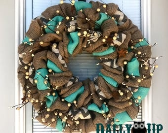 Tiffany Blue Wreath - Berry  Wreath - Tiffany Blue Burlap Wreath - Tiffany Blue Decor Decor -  Spring Decor - Door Wreath  -  Summer Wreaths