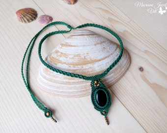 Black Agate Necklace, Bohemian Jewelry, Macrame Necklace, Green Choker Necklace, Boho Necklace, Macrame Pendant, Micro Macrame Jewelry