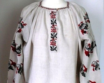 "Antique Dress Ukrainian Handmade Embroidered Woman Dress ""VYSHYVANKA"" from Poltava Region Ukraine - end of 19th century- Museum Item"