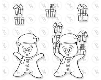 """Digi stamp """"snowman with gifts"""""""