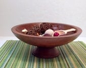 Wooden Pedestal Bowl filled with Reggio Emilia Inspired Loose Parts~Montessori~Waldorf~Open Ended Educational Play