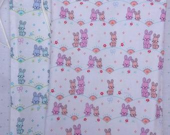 Child's wash bag. Waterproof lining. Sweet bunny fabric