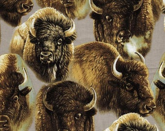 Quilting Treasures - Roaming Buffalo - Packed Bison Fabric