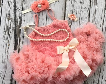 Tutu dress. Baby girl 1st birthday outfit. First birthday. Baby tutu. Peach birthday outfit. 2nd birthday outfit, Toddler tutu dress
