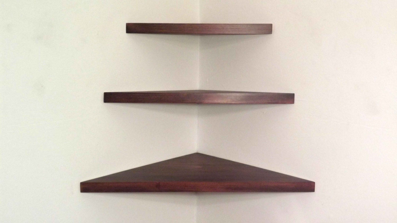 3 pieces set floating corner shelves 1 inch thick with. Black Bedroom Furniture Sets. Home Design Ideas