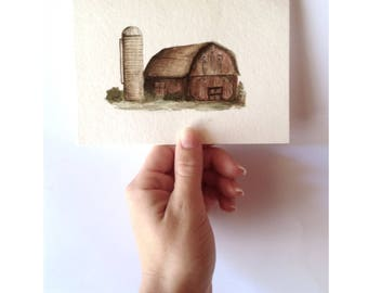 Barn and Silo - (Original)
