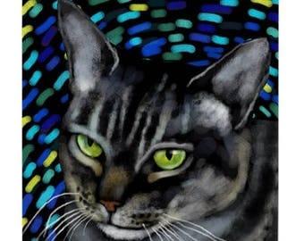 GREY TABBY CAT Art Ceramic Tile Coaster