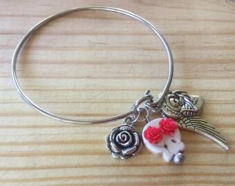 Day of the Dead Bracelet, Dias de Los Muertos Bracelet, Sugar Skull, Rose, Angel Wing, Bangle Bracelet, Minimalist Jewelry, Mexican Jewelry