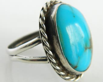 Vintage Sterling Silver Native American Turquoise Ring size 9