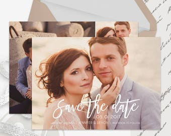 Save the Date Template - Instant Download, Save the Date Card, Text Overlay, Wedding Announcement, Photoshop Template for Photographers
