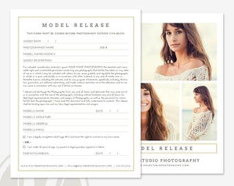 Photography Model Release Form - Adult and Minor Model Release Template, Instant Download, Photoshop Template for Photographers