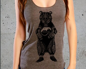 Native American Clothing-Tribal GRIZZLY BEAR T Shirt)Hiking Shirt,Mountains Shirt-Graphic tee-,Womens Graphic Tee