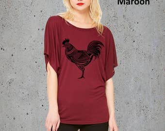 Tribal CHICKEN HEN Shirt)Rooster T-shirt-Flowy Tunic Tshirt-Country Girl Shirt-Women's Graphic Tee,Girlfriend Gift-Birthday Gifts