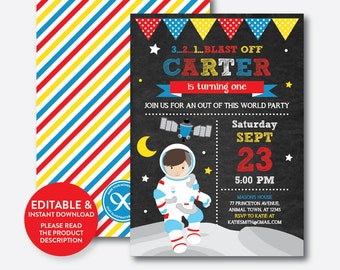 Instant Download, Editable Astronaut Birthday Invitation, Astronaut Invitation, Outer Space Invitation, Space Party, Chalkboard (CKB.66C)