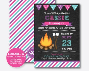 Instant Download, Editable Bonfire Birthday Invitation, Bonfire Invitation, Camping Invitation, Camping Party Invite, Chalkboard (CKB.498B)
