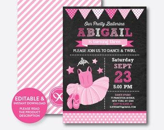 Instant Download, Editable Pink Ballet Birthday Invitation, Ballet Invitation, Ballerina Birthday Invitation, Ballerina Invitation(CKB.416B)
