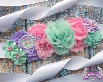 Spring Maternity Sash, Pastel Maternity Sash, Mint Pink Belly Sash, Pastel Maternity Belt, Maternity Photo Prop, Mint Lavender Pink Sash