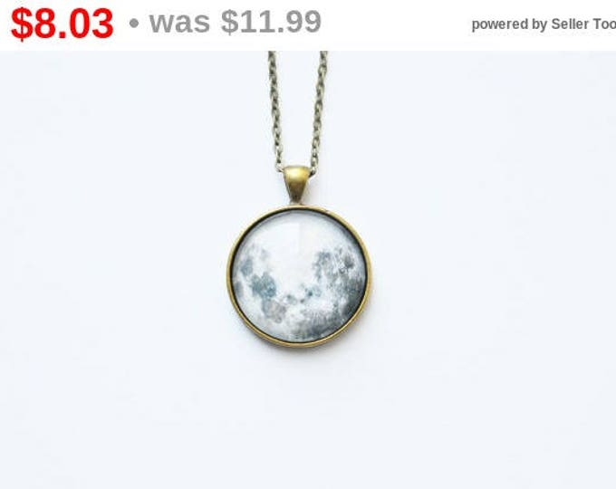 The SPACE Round pendant with the image of the planet Moon from brass and glass retro and vintage
