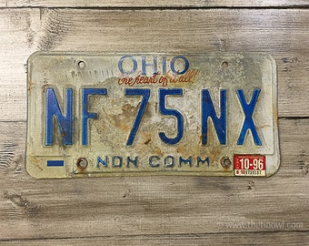 Vintage Ohio License Plate 1996 | Red White Blue Rusty | Man Cave Decor | Old Collectible | For Him | Garage