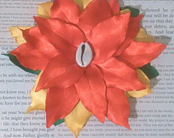 Singed Satin Flower Hair Clip/ Red Yellow Green/Rasta Colors Clip (Other Colors Avalaible) MADE TO ORDER