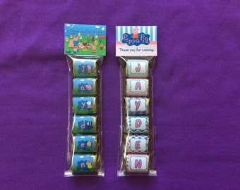 Personalized Peppa Pig Hershey Nuggets labels + bags + toppers, Party Favors (good for 10 sets of favors)