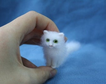 Miniature Needle Felted Cat. Black Cat. Kitten. Green Eyes. Realistic Cat. Pet. Felted Animal. Dollhouse Cat. Made to Order.