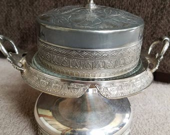 Antique silver butter dish marked Manhattan Silver Plate Co.