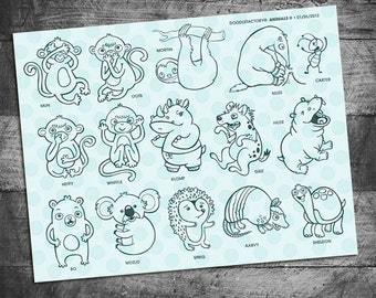 Animal stamps, sloth stamp, monkey stamp, koala stamp, hippo stamp, aardvark stamp, hedgehog stamp, rhino stamp. turtle, ant, rubber stamp