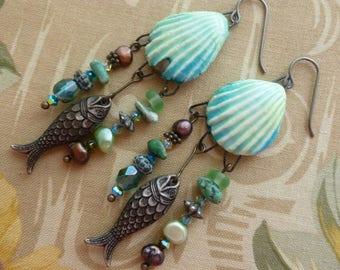 Sea Shore Treasures, Boho Ceramic Sea Shell Dangles, Beach Earrings, Bone China Shells, Shell Charms, Northernblooms