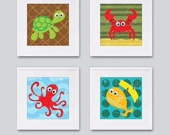 "Sea Creature Wall Art, Ocean Wall Art, 5x5"" Prints - Set of 4"