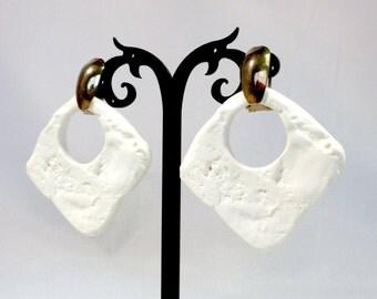Big White Earrings, Large Hoop Earrings, Huge Earrings, Big Earrings, White Earrings, Hoop Earrings, For Pierced Ears, Stucco Style Earrings