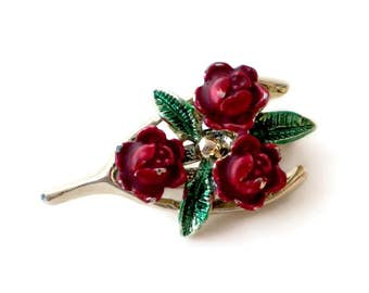 Wishbone Brooch, Rose Brooch, Good Luck Jewelry, Holiday Jewelry, Christmas Pin, Gerry's Brooch,Christmas Brooch, Holiday Brooch, Vintage