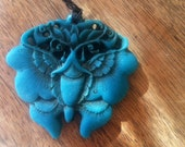 Vintage Faux Cinnebar Resin Chinese Moth Butterly Bead Pendant Teal Blue Turquoise