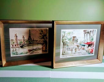 Set of 2 Framed Garisy 1940's Parisian Watercolour Pictures