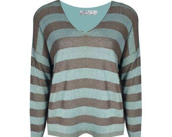 Duck egg blue and taupe fine Knit lightly woven striped knit