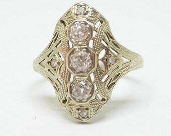 Vintage Art Deco 14k White Gold Filigree & Diamond Ring Sz 6 1/2 .40pts Diamonds