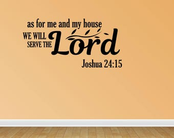Wall Decal Quote As For Me Decal Vinyl Wall Decals Vinyl Decals Religious Decal Christian Decal (PC151)