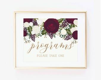 Printable Wedding Sign, Program Sign, Vintage Wedding, Vintage Sign, Vintage Floral, Program Wedding Sign, Printable Program Sign #CL158