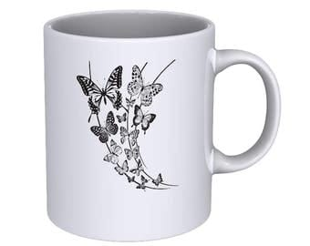 monochrome floral butterflies - cool - Coffee Mug - Best Gift !!!