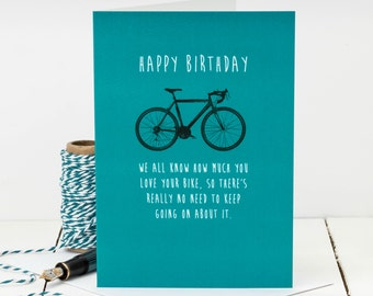 Funny Birthday Card For Bike Lovers; Bike Card; Card For Dads; Funny Card For Husbands; Card For Him; GC410