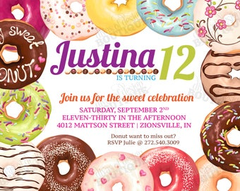 JUSTINA - Donut Invitation; Doughnut Invitation; Printable Sweets Invitation