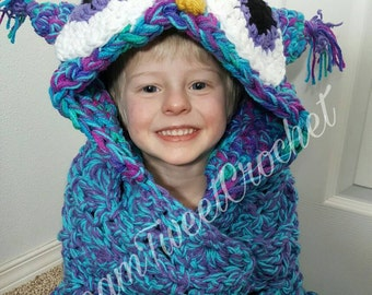 Adult Crocheted Hooded Owl Blanket, Child crocheted Hooded Owl blanket, Hooded Owl Blanket