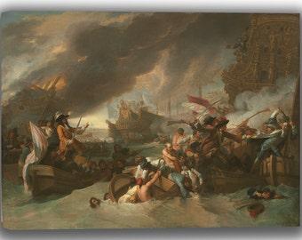 Benjamin West: The Battle of La Hogue. Fine Art Canvas. (04071)