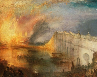 William Turner: The Burning of the Houses of Lords and Commons, October 16, 1834. Fine Art Print/Poster. (004122)