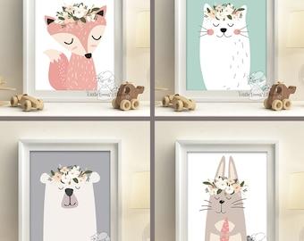 Woodland Animals Nursery Art Prints set pastel colors baby girl wall decor poster kids room print printable fox bear forest digital art 7