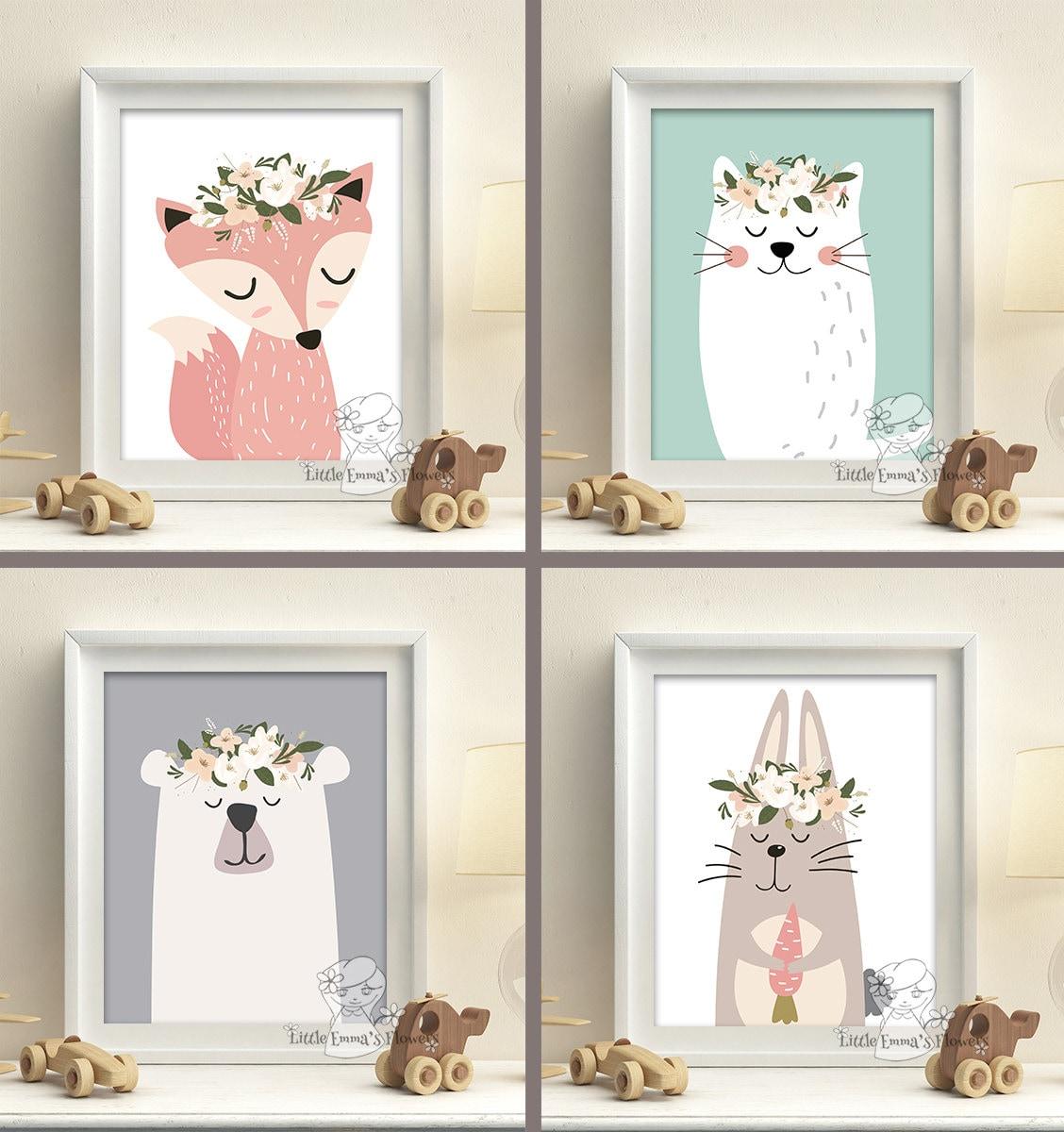 Woodland Animals Nursery Art Prints Set Pastel Colors Baby