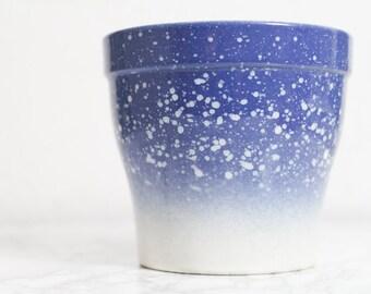 Vintage Blumentopf Keramik Übertopf Pflanzentopf Blau Dip Dye Germany Vintage Planter 80er Maritim Meer Antik