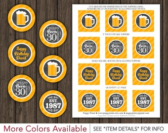 "Cheers and Beers to 30 Years Birthday Cupcake Toppers • Printable 30th Birthday 2"" Cupcake Toppers • Any Age"