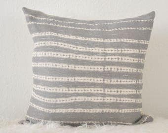 Decorative Pillow, Organic Stripe Pillow, Tribal Pillow Cover