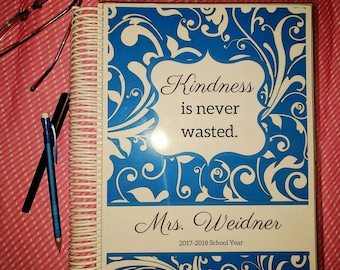TEACHER'S PET Handmade Personalized Teacher Planner/Agenda/Organizer, Gradebook, Calendar, Spiral or Disc Binding with Custom Options